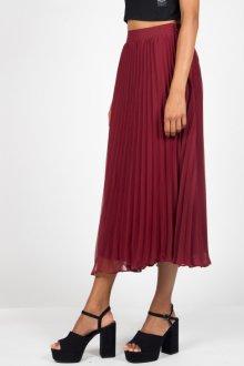Бордовая юбка миди плиссе