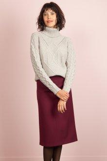 Бордовая юбка образ