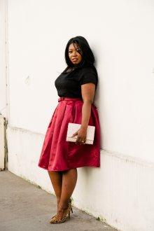 Бордовая юбка для полных