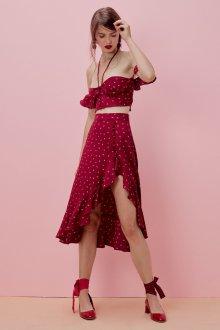 Бордовая юбка с принтом