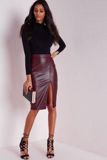 Бордовая юбка с разрезом