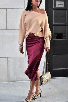 Бордовая юбка шелковая