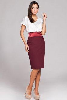 Бордовая юбка с высокой талией