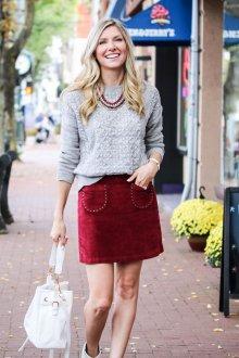 Бордовая юбка велюровая