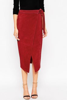 Бордовая юбка с запахом