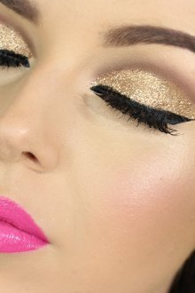 Золотой макияж для брюнеток