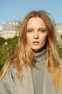Золотой макияж для серых глаз