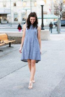 Платье трапеция голубое