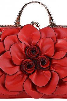 Кожаная сумка женская цветок красная
