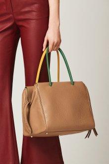 Кожаная сумка женская деловая бежевая