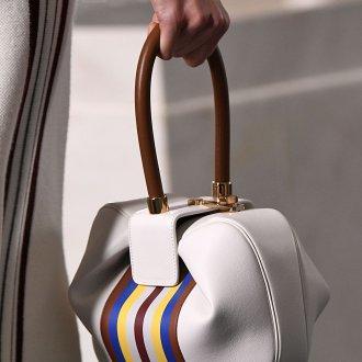 Кожаная сумка женская с полосками