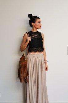 Бежевая юбка длинная