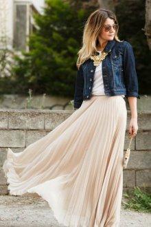 Бежевая юбка макси