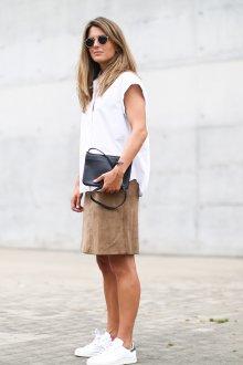 Бежевая юбка с чем носить