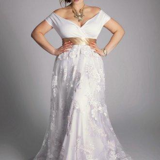Свадебное платье для полных цветочное
