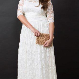 Свадебное платье для полных с кружевом