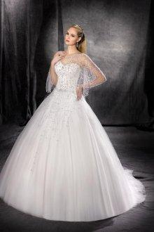 Свадебное платье для полных с накидкой