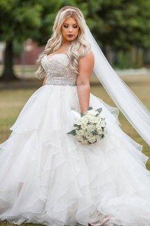 Свадебное платье для полных шифоновое многослойное