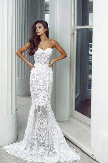 Кружевное свадебное платье бюстье русалка