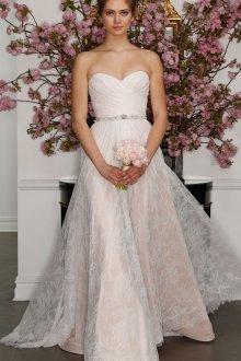 Кружевное свадебное платье двойное