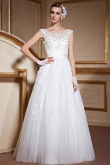 Кружевное свадебное платье из фатина