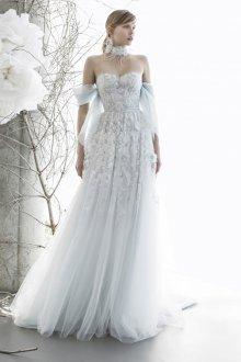 Кружевное свадебное платье голубое