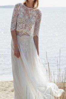 Кружевное свадебное платье легкое