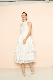Кружевное свадебное платье с оборками короткое