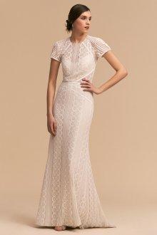 Кружевное свадебное платье пляжное