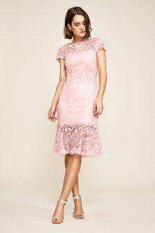 Кружевное свадебное платье пудровое