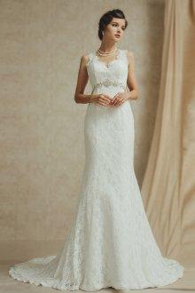 Кружевное свадебное платье бюстье в стиле ретро