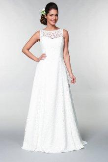 Кружевное свадебное платье строгое