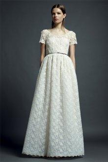 Кружевное свадебное платье винтажное с поясом