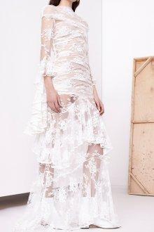Кружевное свадебное платье с воланами прозрачное