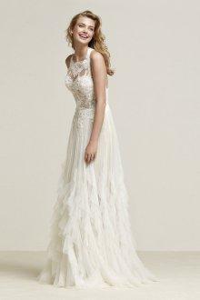 Кружевное свадебное платье с воланами