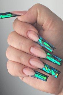 Маникюр битое стекло на акриловые ногти