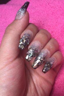 Маникюр битое стекло на нарощенные ногти