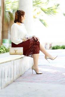 Вечерняя юбка бордовая кружевная
