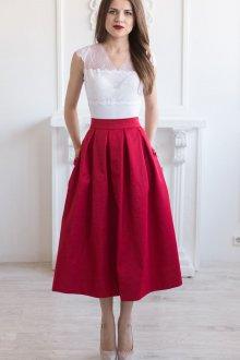 Вечерняя юбка красная