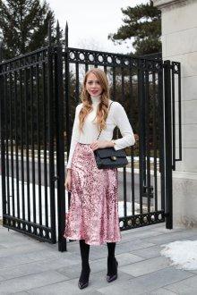 Вечерняя юбка розовая блестящая