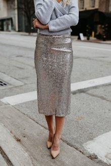 Вечерняя юбка серебряная