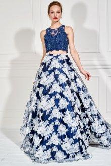 Вечерняя юбка синяя с цветами