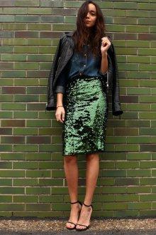 Вечерняя юбка зеленая с пайетками