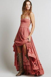 Платье бохо коралловое