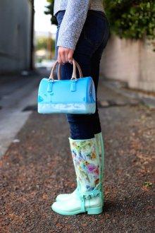 Резиновые ботинки бирюзовые