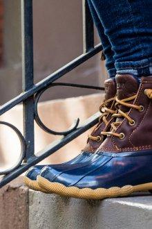 Резиновые ботинки комбинированные на шнуровке