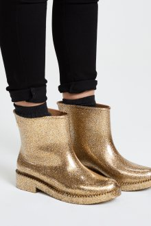 Резиновые ботинки золотые