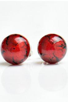 Серьги гвоздики красные