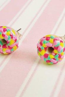 Серьги гвоздики в виде пончиков