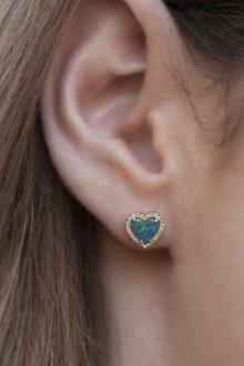 Серьги гвоздики в виде сердца с драгоценным камнем
